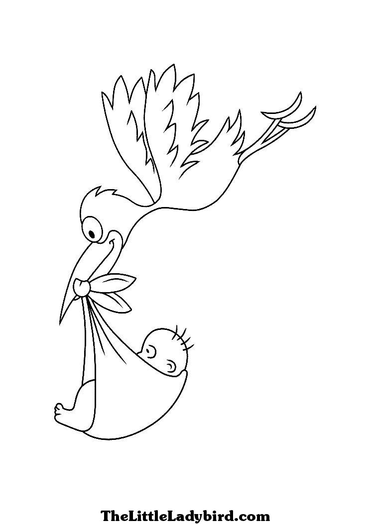 Картинки аиста с младенцем для выжигания